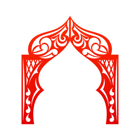Red indian Arch isolated on white background. Cut. Welcome! Design your construction company site. Vector illustration.