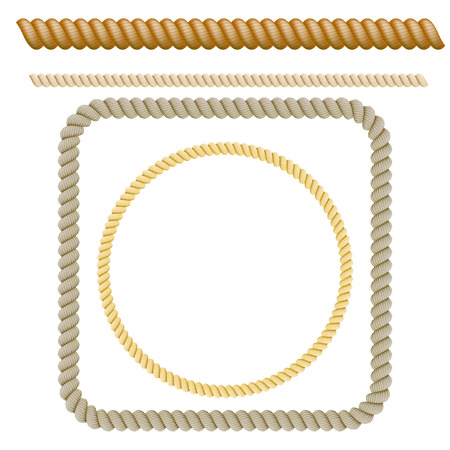 Set of decorative elements of the rope. Vector illustration