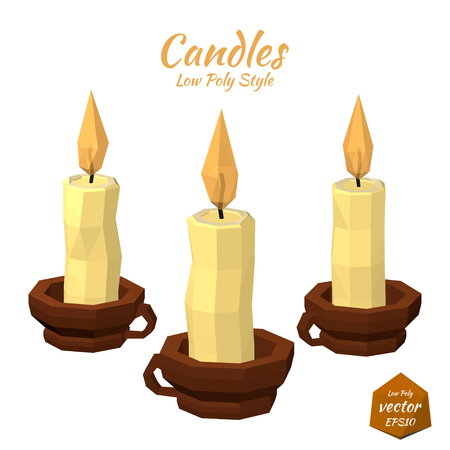 Set candles in the cup and a bright flame isolated on white background. Low poly style. Vector illustration.の素材 [FY31044941918]