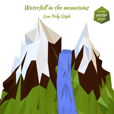 Landscape mountain river and snow-capped mountain peaks. Low poly style. Vector illustration.の素材 [FY31044942149]