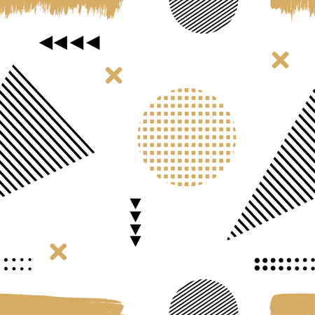 Illustration for Memphis style. The Seamless texture of fabric, prints, printing. Memphis pattern with geometric design elements. Seamless illustration of abstract elements. Stock vector - Royalty Free Image