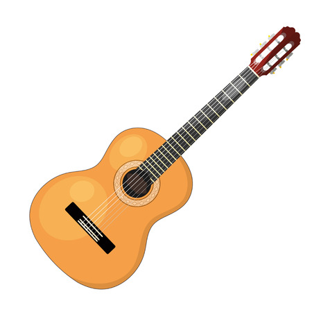 Illustration pour Musical instrument - acoustic cartoon guitar with strings on a white background. Isolated object. Stock vector illustration - image libre de droit
