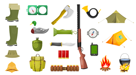 Set of hunting theme icons. Isolated on white background. Vector illustration.
