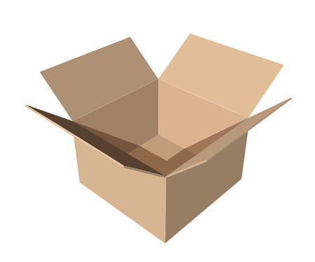 Ilustración de cardboard paper box on white background vector illustration - Imagen libre de derechos