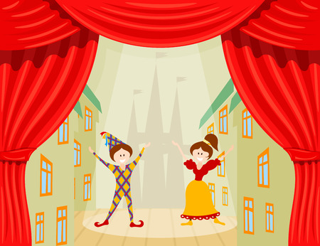 Illustration pour Children's Theater. A scene with two young actors and red scenes. Vector illustration of a performance with Harlequin and Colombine - image libre de droit