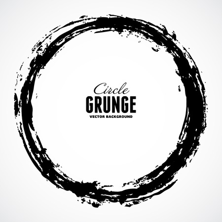 Vector ink grunge circle frame