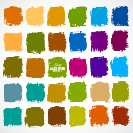 Abstract vector hand-painted square backgrounds