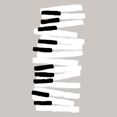 Grunge black and white piano keys
