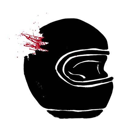 Illustration pour Broken biker helmet doodle icon. Motorcycle accident concept. Grunge hand-drawn illustration of helmet with red blood. Fatal accident with a car vector design. - image libre de droit