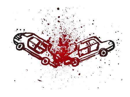 Illustration pour Crashed Cars Grunge hand-drawn vector illustration. Ink doodle icon. Blood splashes fatal design. - image libre de droit