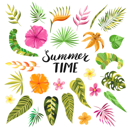 Illustration for Summer time lettering. Tropical summer flowers, blooms, branches and leaves. Vector decorative colorful paradise garden plants and objects in pink, orange and green colors. - Royalty Free Image