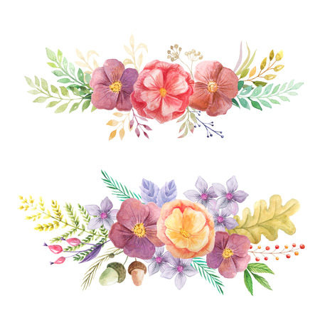 Set of hand painted watercolor flowers, leaves, forest berries and herb in rustic style. Autumn boho chic compositions perfect for floral design projects