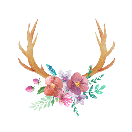 Set of hand painted watercolor flowers, leaves, antlers and berry in rustic style. Boho rustic composicion perfect for floral design projects