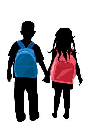 Illustration pour back to school kids silhouettes - image libre de droit