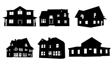 Illustration for house silhouettes collage - Royalty Free Image