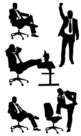 businessmen silhouettes isolated on white