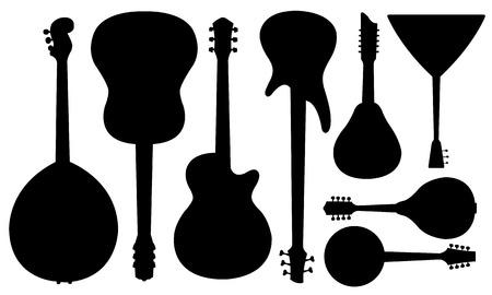 set of guitars isolated on white