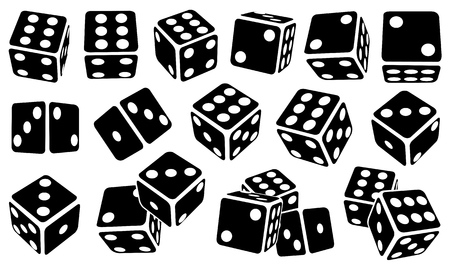 Set of different black dice isolated on white