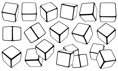Illustration pour Set of cubes in different positions isolated on white - image libre de droit
