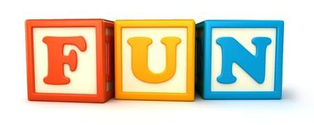 Alphabet building blocks that spelling the word fun