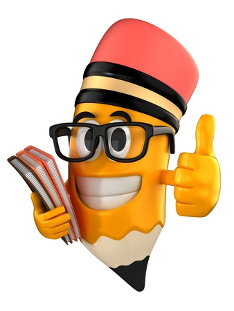 3d render of pencil giving thumbs up and holding books