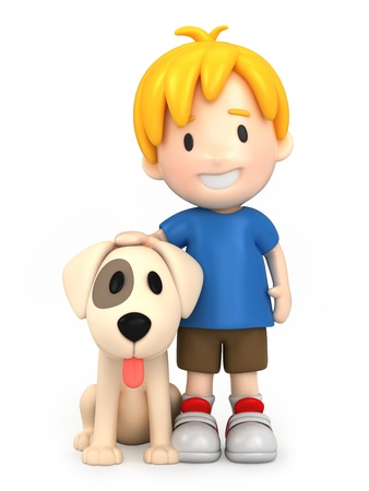 3d render of a boy and his dog