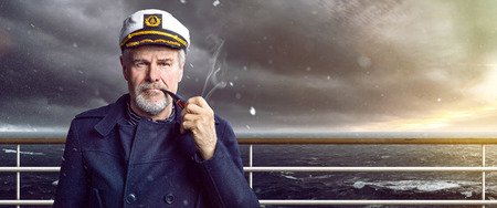Photo for old Captain with smoking pipe - Royalty Free Image