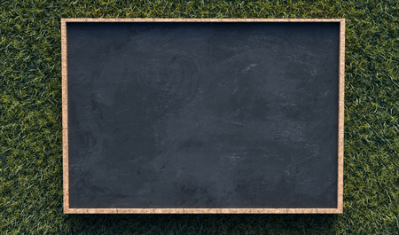 Photo pour Blackboard on gras background - image libre de droit