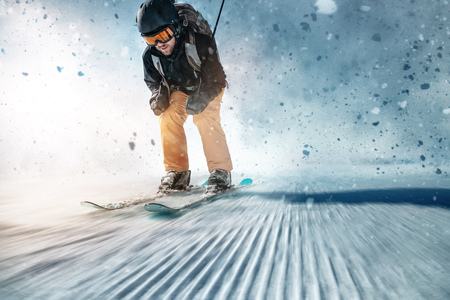 Photo for Skier on ski slope - Royalty Free Image