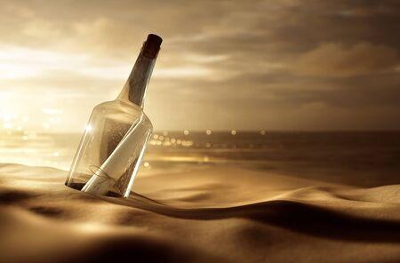 Photo pour Message in a bottle at the beach - image libre de droit