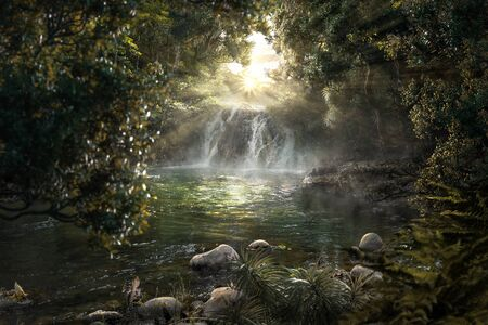 Photo for Heavenly jungle with beautiful waterfall - Royalty Free Image