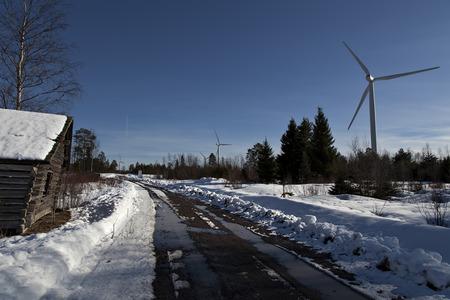 Barn and wind turbines