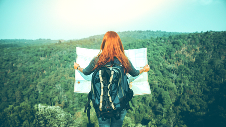Travelers explore the mountainous forest map. Explore the map