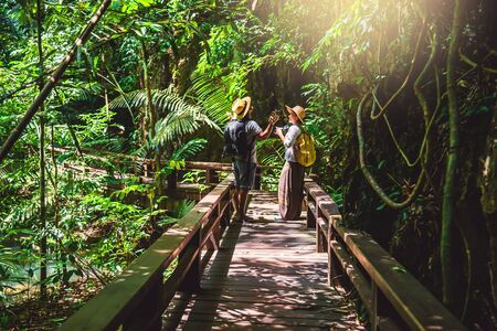 Asian couple happy travel the mangrove forest. Travel walking on a wooden bridge. Nature trail, Thanbok waterfall, recreation, travel, backpacks, nature, tourism, countryside, style, forest, adventure.