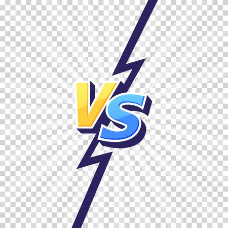 Ilustración de Versus VS letters fight transparent backgrounds in flat comics style design with lightning. Vector illustration - Imagen libre de derechos