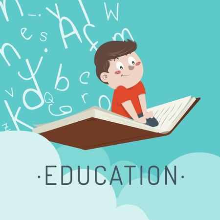 Illustration pour illustration boy flies on a training book - image libre de droit