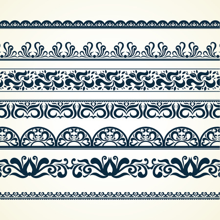 Illustration pour Calligraphic borders, patterns, and ornamental corners. Vector pattern brushes set. decorative elements for the design works. It can be used as separate elements or brushes - image libre de droit