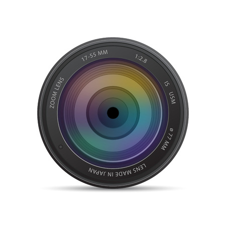 Illustration for camera photo lens with shutter - Royalty Free Image