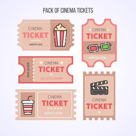 Illustration pour Cinema Tickets Set - image libre de droit