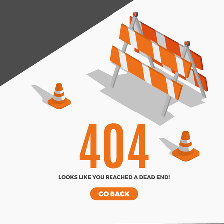 Illustration pour Flat line icon concept of 404 Error Page or File not found icon.Error 404 page with road isometric construction signs. - image libre de droit