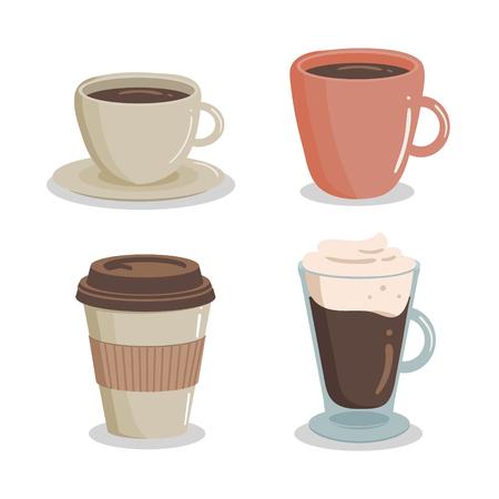 Illustration pour Coffee set icon. Vector illustration. drawn design element for label and poster - image libre de droit