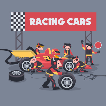 Illustration for Colorful illustration with pit stop workers and engineers maintaining technical service for a racing car during competition event - Royalty Free Image