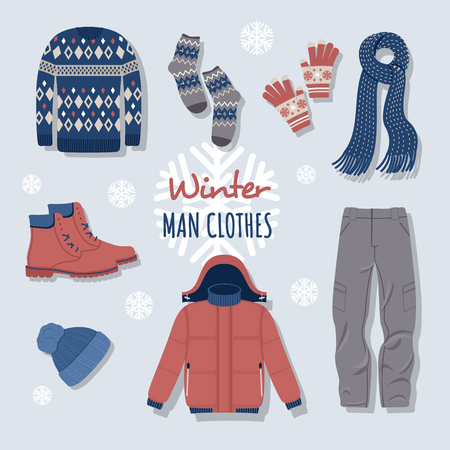 Illustration pour Collection of winter clothes and outerwear isolated on light background - woolen jumper, cardigan, coat, snow boots, scarf, hat, mittens. Bundle of seasonal clothing. Colorful vector illustration. - image libre de droit