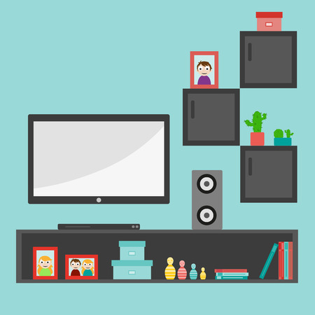 Illustration for Living room interior design with furniture: sofa, bookcase, tv, lamps. Flat style vector illustration - Royalty Free Image