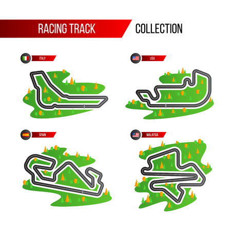 set of grand prix race track. circuit for motorsport and autosport.