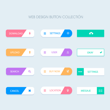Illustration pour Vector Flat Web Buttons - image libre de droit