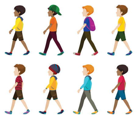 Illustration for Faceless young men walking on a white background - Royalty Free Image
