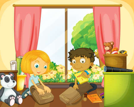Illustration for Two kids packing schoolbag in the house illustration - Royalty Free Image