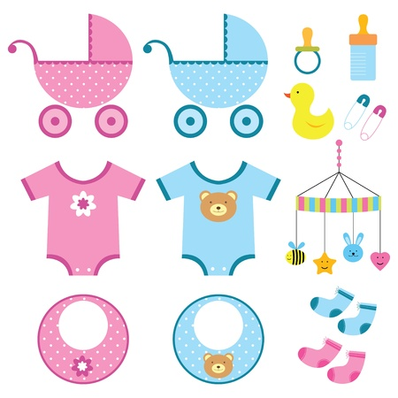 Illustration for Baby boy and girl elements set - Royalty Free Image