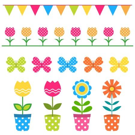 Illustration pour Colorful flowers and design elements set - image libre de droit